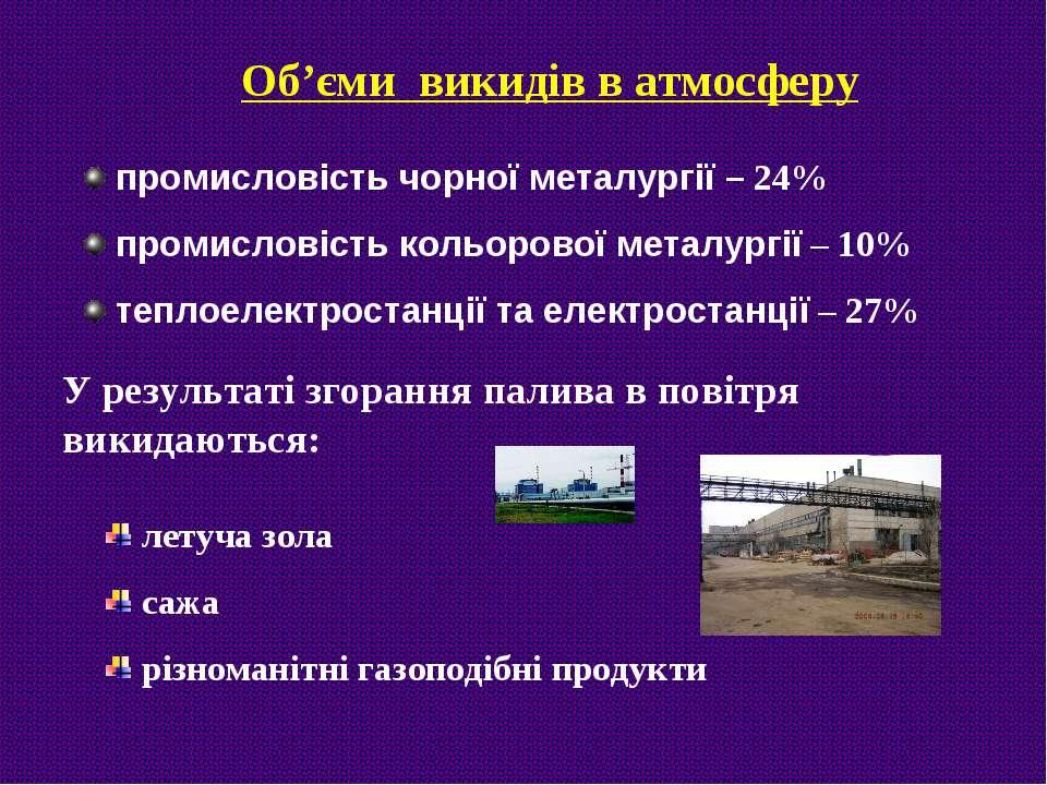 Об'єми викидів в атмосферу промисловість чорної металургії – 24% промисловіст...