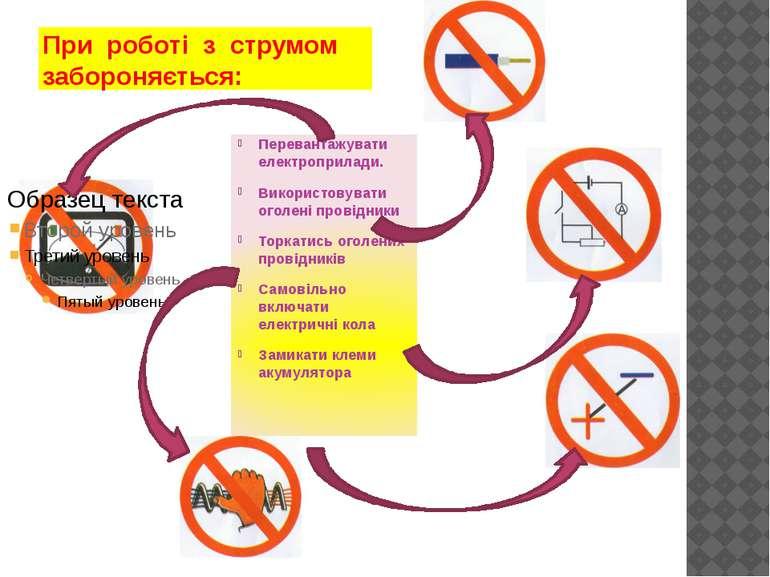 При роботі з струмом забороняється: Перевантажувати електроприлади. Використо...