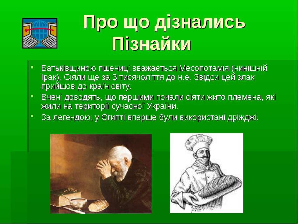 Про що дізнались Пізнайки Батьківщиною пшениці вважається Месопотамія (нинішн...