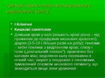 Критерії діагностики неспецифічного виразкового коліту І Клінічні Кишкові сим...