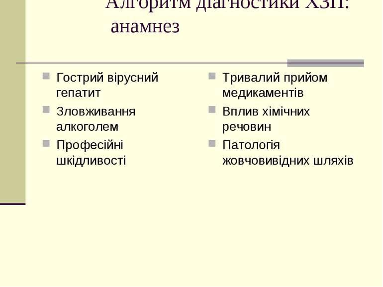 Алгоритм діагностики ХЗП: анамнез Гострий вірусний гепатит Зловживання алкого...