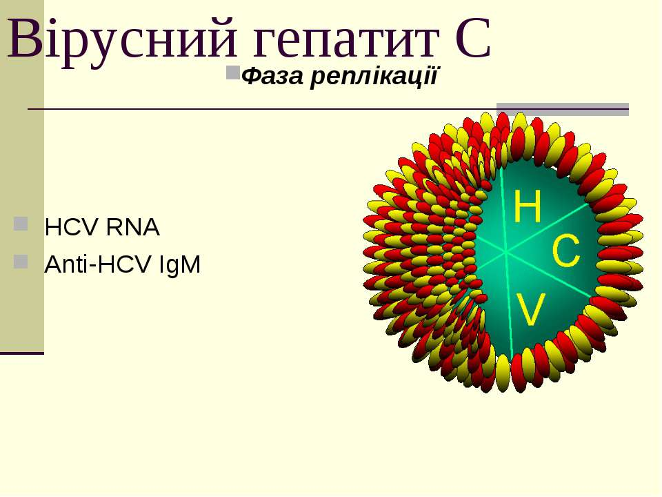 Вірусний гепатит С Фаза реплікації HCV RNA Anti-HCV IgM