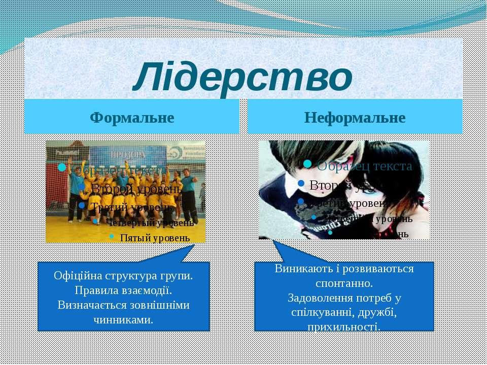 Лідерство Формальне Неформальне Офіційна структура групи. Правила взаємодії. ...