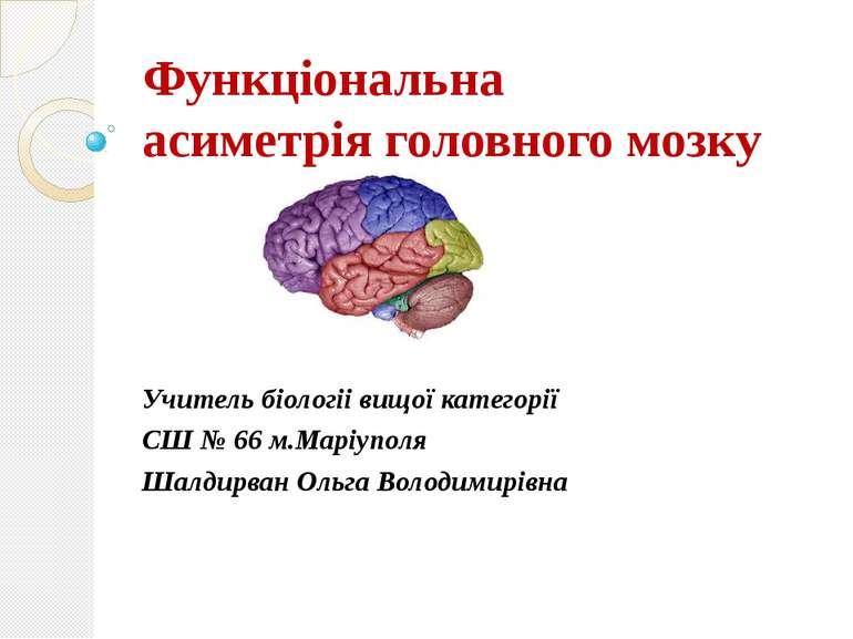 Функціональна асиметрія головного мозку Учитель біологіі вищої категорії СШ №...