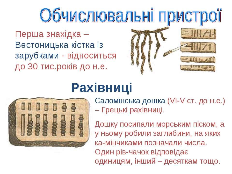 Рахівниці Саломінська дошка (VI-V ст. до н.е.) – Грецькі рахівниці. Дошку пос...