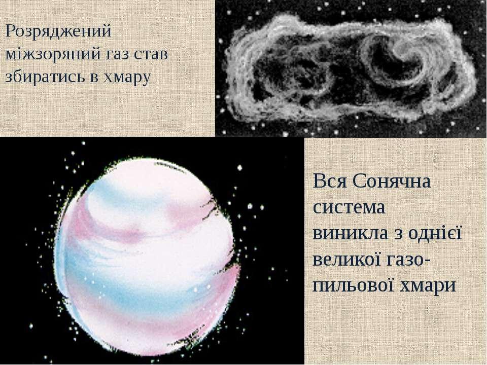 Розряджений міжзоряний газ став збиратись в хмару Вся Сонячна система виникла...