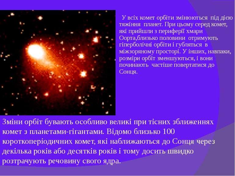 У всіх комет орбіти змінюються під дією тяжіння планет. При цьому серед комет...