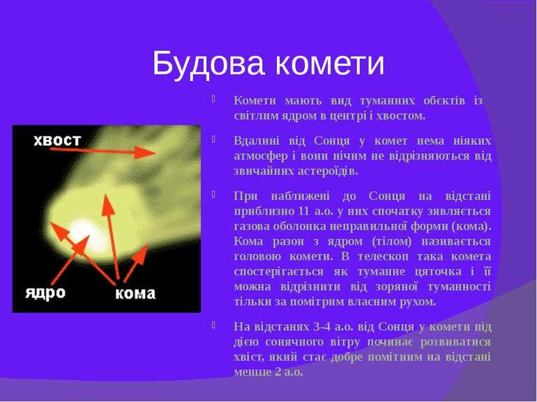 Будова комети Комети мають вид туманних обєктів із світлим ядром в центрі і х...
