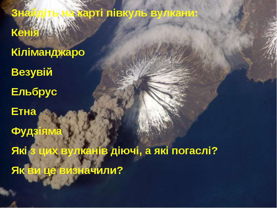 Знайдіть на карті півкуль вулкани: Кенія Кіліманджаро Везувій Ельбрус Етна Фу...