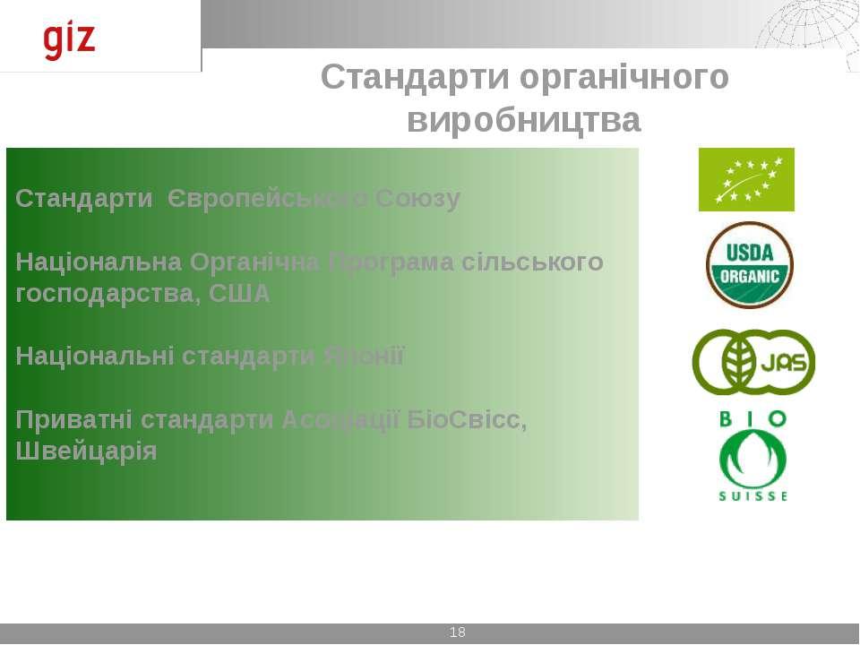 Стандарти Європейського Союзу Національна Органічна Програма сільського госпо...