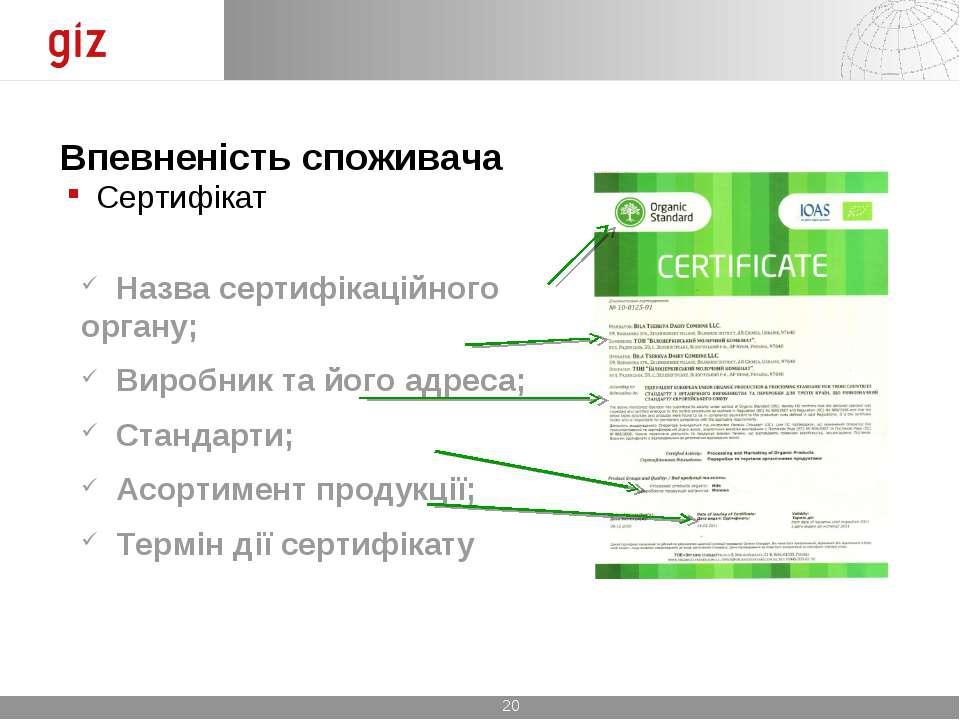 Впевненість споживача Сертифікат Назва сертифікаційного органу; Виробник та й...
