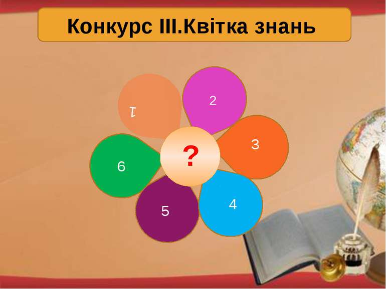 Конкурс ІІІ.Квітка знань 1 2 3 4 5 6 ?