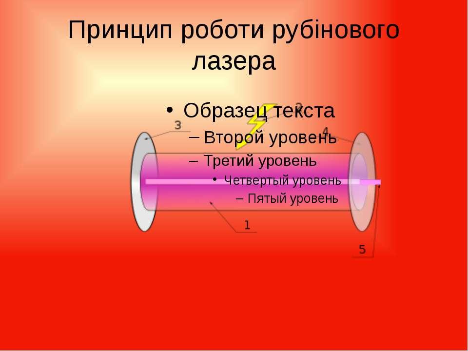 Принцип роботи рубінового лазера