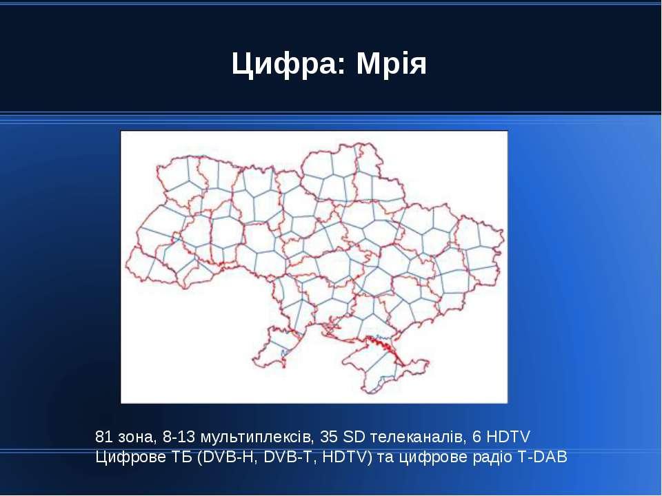Цифра: Мрія 81 зона, 8-13 мультиплексів, 35 SD телеканалів, 6 HDTV Цифрове ТБ...