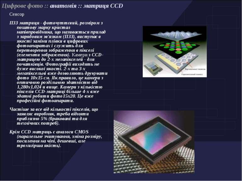 Сенсор ПЗЗ матриця - фоточуттєвий, розміром з поштову марку кристал напівпров...