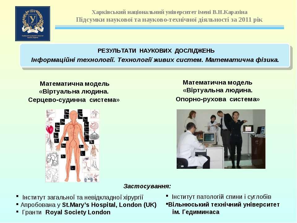 Математична модель «Віртуальна людина. Серцево-судинна система» Інститут зага...