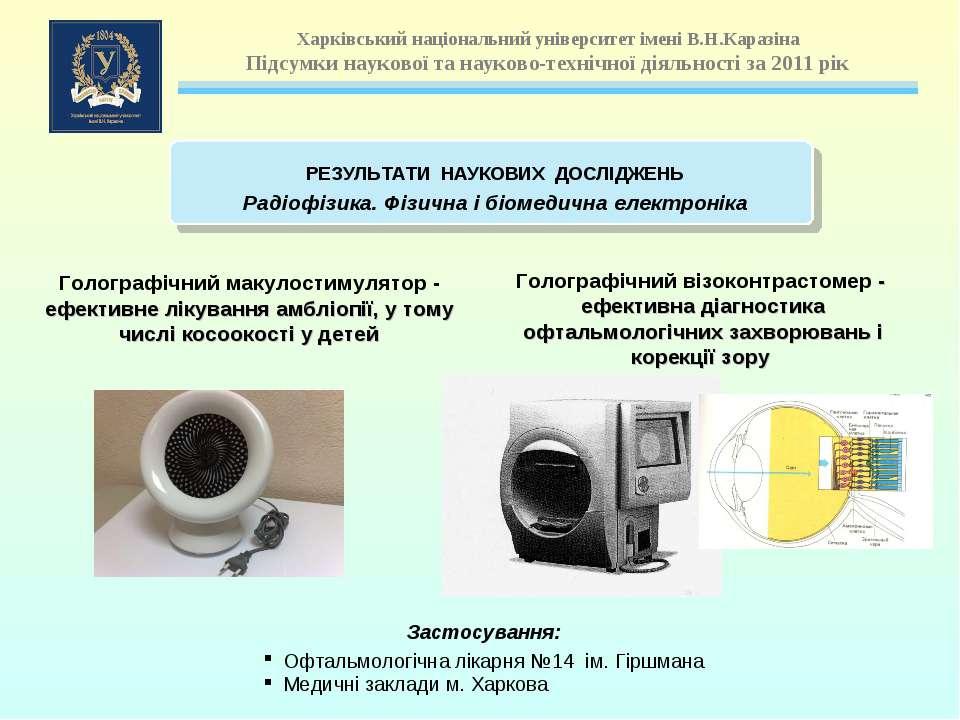 Голографічний макулостимулятор - ефективне лікування амбліопії, у тому числі ...