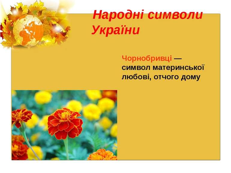 Народні символи України Чорнобривці — символ материнської любові, отчого дому