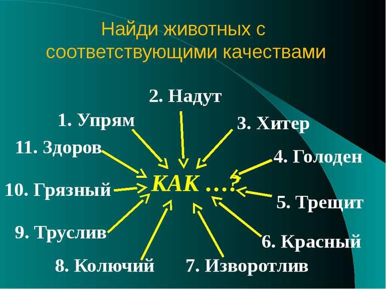 1. Упрям 2. Надут 3. Хитер 4. Голоден 5. Трещит 6. Красный 7. Изворотлив 8. К...