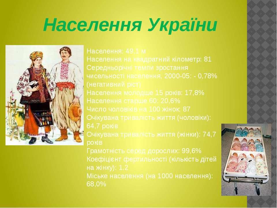 Населення України Населення: 49,1 м Населення на квадратний кілометр: 81 Сере...