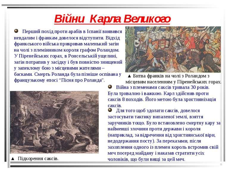 Війни Карла Великого ▲ Підкорення саксів. ▲ Битва франків на чолі з Роландом ...
