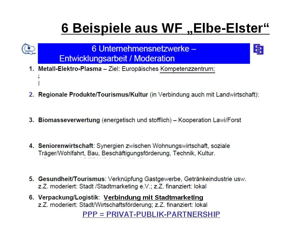 "6 Beispiele aus WF ""Elbe-Elster"" PPP = PRIVAT-PUBLIK-PARTNERSHIP Verbindung m..."
