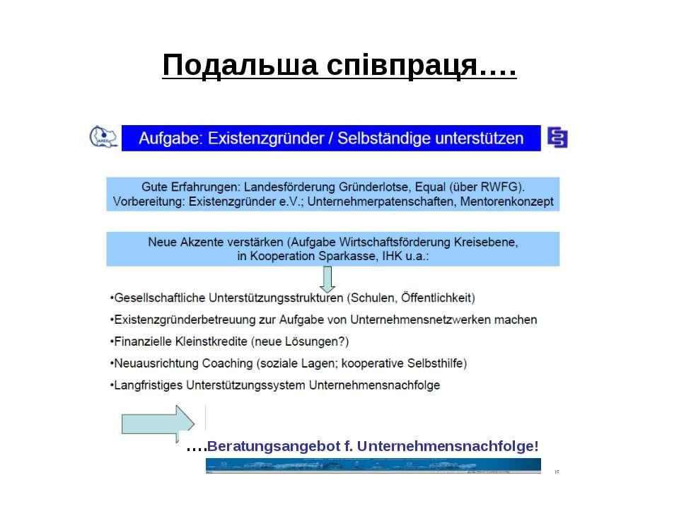 Подальша співпраця…. ….Beratungsangebot f. Unternehmensnachfolge!