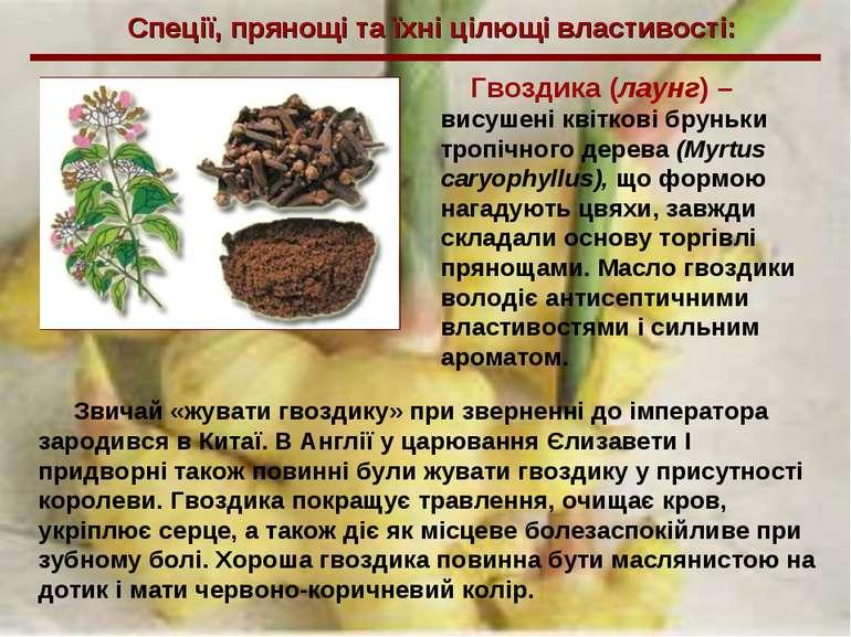Спеції, прянощі та їхні цілющі властивості: Гвоздика (лаунг) – висушені квітк...
