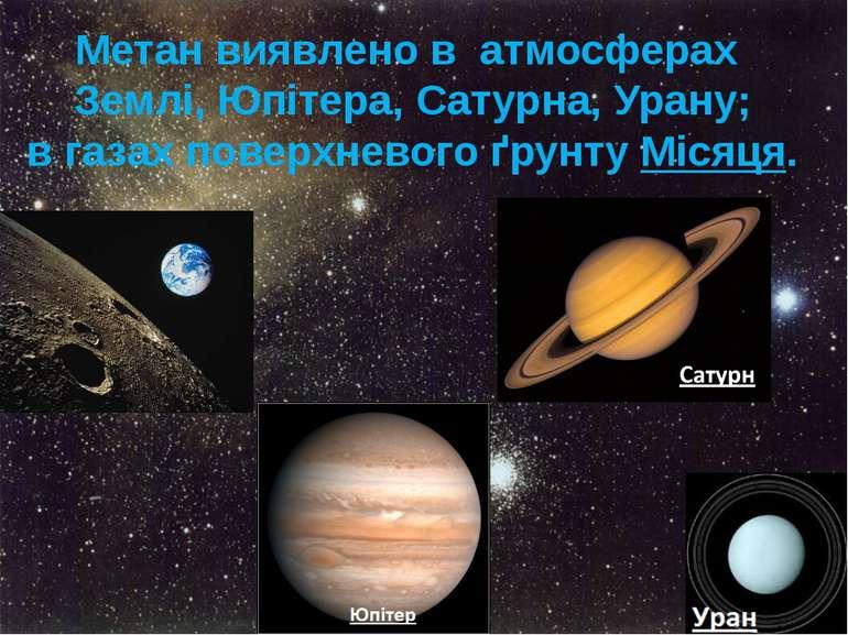 Метан виявлено в атмосферах Землі,Юпітера,Сатурна,Урану; в газах поверхне...