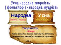 Народна Автор - народ Усна З вуст в вуста Творчість Жанри Пісні, загадки, каз...