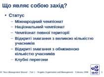 Статус Міжнародний чемпіонат Національний чемпіонат Чемпіонат певної територі...