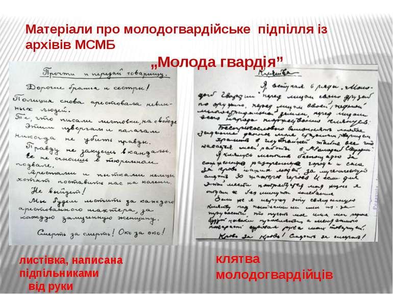 клятва молодогвардійців листівка, написана підпільниками від руки Матеріали п...