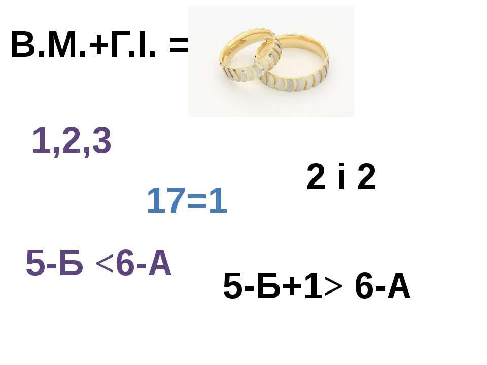 1,2,3 В.М.+Г.І. = 17=1 5-Б 6-А 2 і 2