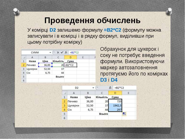 У комірці D2 запишемо формулу =B2*C2 (формулу можна записувати і в комірці і ...
