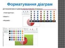 Для форматування діаграм використовуються вкладки: «Конструктор»; «Макет»; «Ф...