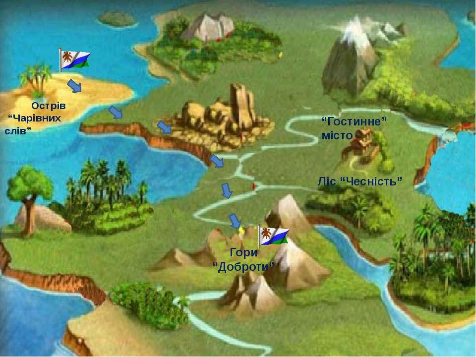 """Острів """"Чарівних слів"""" Гори """"Доброти"""" """"Гостинне"""" місто Ліс """"Чесність"""""""