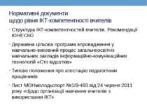 Нормативні документи щодо рівня ІКТ-компетентності вчителів Структура ІКТ-ком...