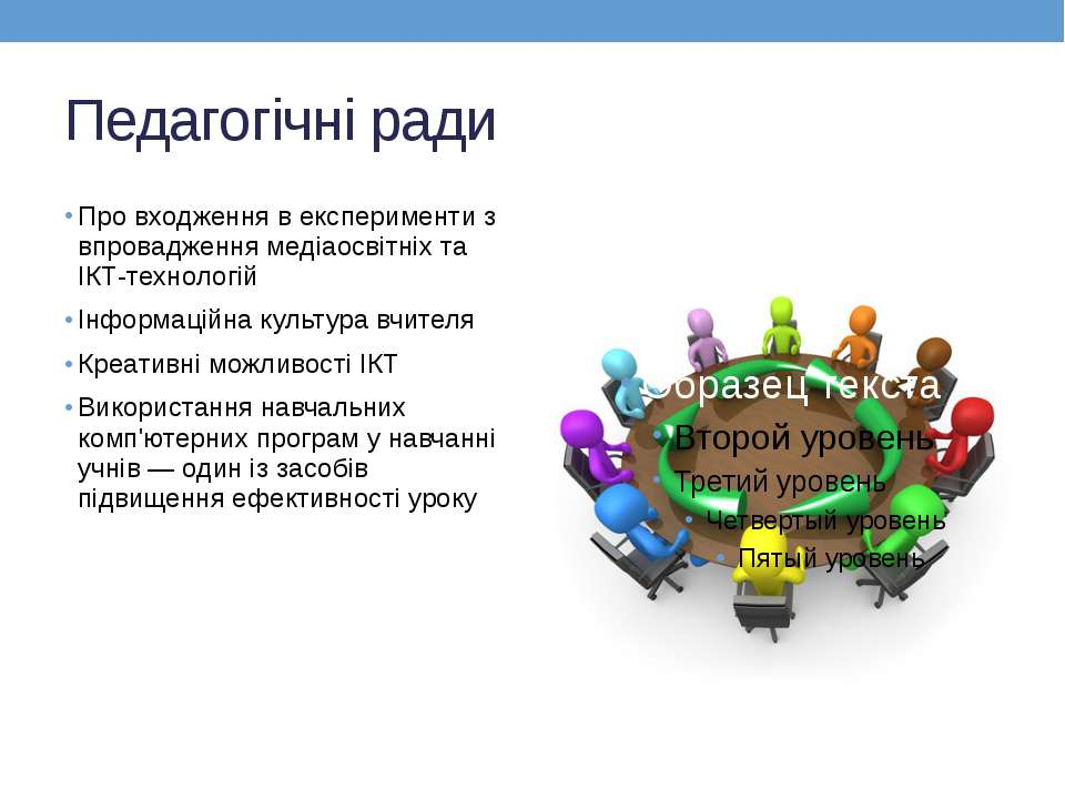 Педагогічні ради Про входження в експерименти з впровадження медіаосвітніх та...