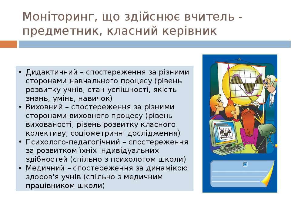 Моніторинг, що здійснює вчитель - предметник, класний керівник Дидактичний – ...