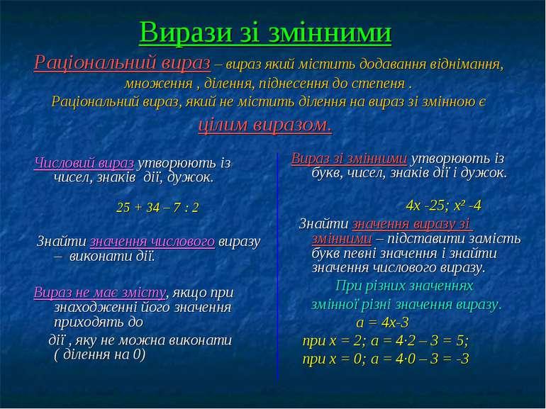 Вирази зі змінними Раціональний вираз – вираз який містить додавання відніман...