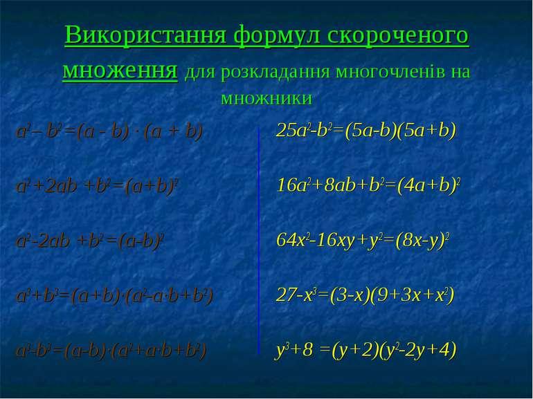 Використання формул скороченого множення для розкладання многочленів на множн...