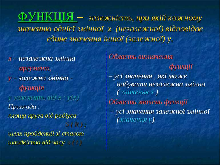 ФУНКЦІЯ – залежність, при якій кожному значенню однієї змінної х (незалежної)...