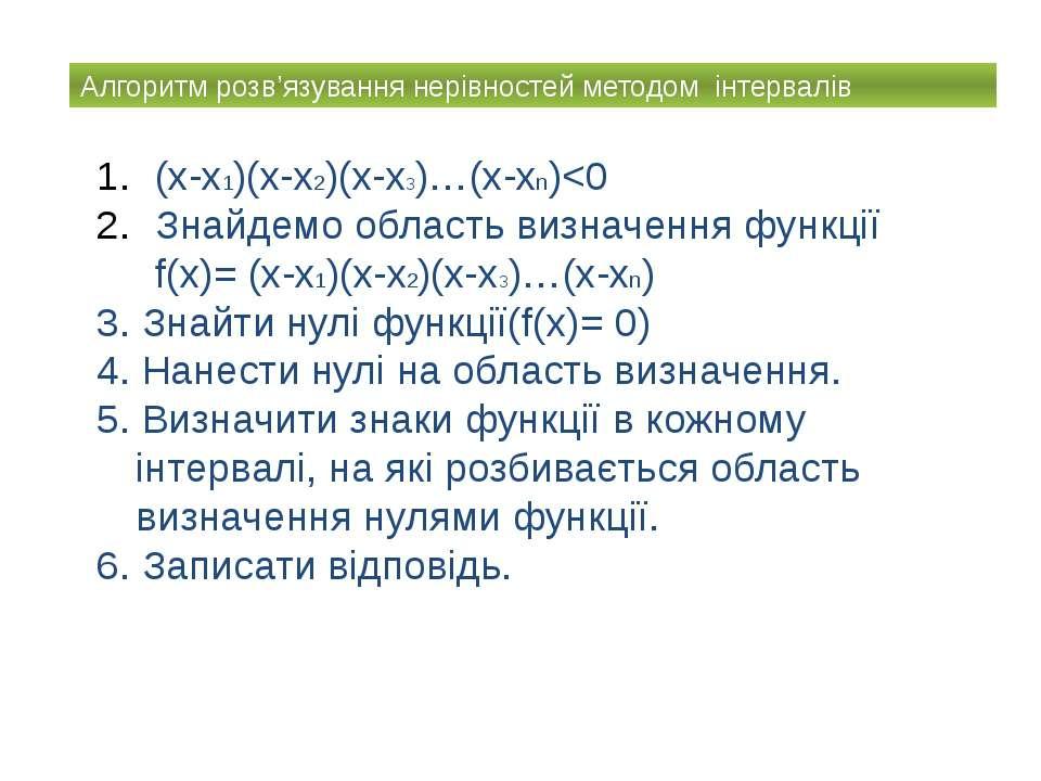 Алгоритм розв'язування нерівностей методом інтервалів (x-x1)(x-x2)(x-x3)…(x-xn)