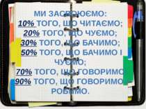 МИ ЗАСВОЮЄМО: 10% ТОГО, ЩО ЧИТАЄМО; 20% ТОГО, ЩО ЧУЄМО; 30% ТОГО, ЩО БАЧИМО; ...