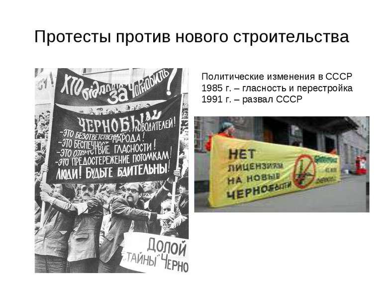 Протесты против нового строительства Политические изменения в СССР 1985 г. – ...