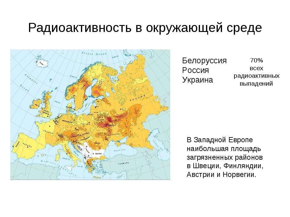 Радиоактивность в окружающей среде Белоруссия Россия Украина 70% всех радиоак...