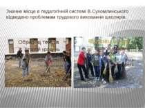 Значне місце в педагогічній системі В.Сухомлинського відведено проблемам труд...