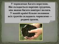У чорноземах багато перегною. Він складається окремих грудочок, між якими баг...