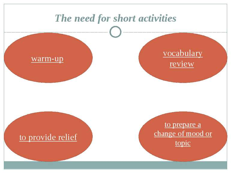 The need for short activities warm-up vocabulary review to provide relief to ...