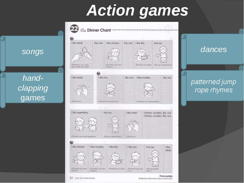 Action games songs hand-clapping games dances patterned jump rope rhymes